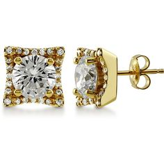 BERRICLE Gold Plated Sterling Silver CZ Wedding Bridal Fashion Stud... ($55) ❤ liked on Polyvore featuring jewelry, earrings, clear, sterling silver, stud earrings, women's accessories, sterling silver cubic zirconia earrings, stud earring set, bridal earrings and sterling silver earrings