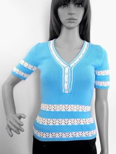 Knitted summer shirt Turquoise knit polo shirt by UrbanStyleKnit