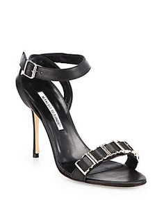 Serious #hardwear - Manolo Blahnik Caipu Leather Metal Buckle Sandals #manoloblahnik