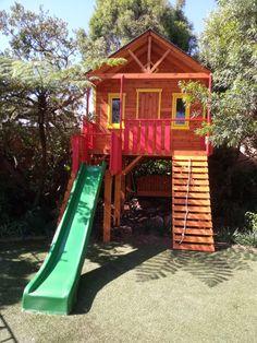 Main colour- teak Finishings- red, yellow and green slide #treehouse #woodworks #tiktok #playhousebuildingplans #playhouse #playarea #playroomgoals Tree Houses, Play Houses, Building Plans, Main Colors, Teak, Playroom, Colour, Cool Stuff, Yellow
