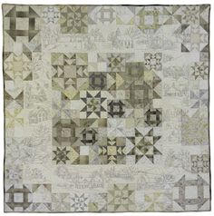 Snow Days quilt pattern at Crabapple Hill Studios. Churn Dash, star, pinwheels and embroidery