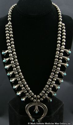 Navajo Turquoise and Silver Squash Blossom Necklace     circa 1940
