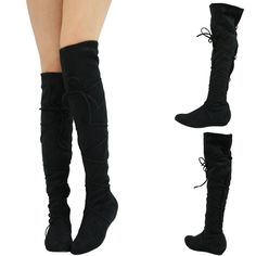 STRAP-LACE-TIE-UP-SLOUCHY-STRETCH-LOW-FLAT-WEDGE-HEEL-OVER-KNEE-THIGH-HIGH-BOOTS
