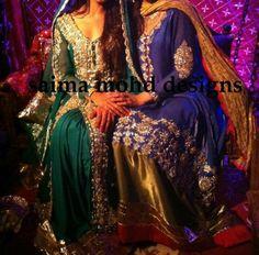 Saima Mohd Pakistani gown royal blue & gold, emerald