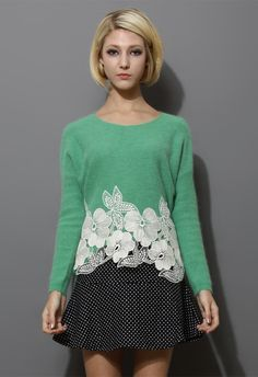 Green Wool Sweater with Floral Crochet Detail - New Arrivals - Retro, Indie and Unique Fashion