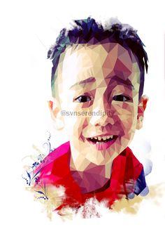 Andra's smile.  # my drawing # lowpoly # watercolour # digital painting # digital art # children # portrait # polygonal