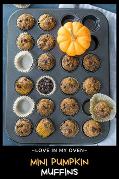 The best mini pumpkin muffins with mini chocolate chips, whole wheat flour and loads of pumpkin pie spice! These healthy pumpkin chocolate chip muffins are a delicious bite sized breakfast or snack! // whole wheat pumpkin muffins // healthy pumpkin chocolate chip muffins // mini pumpkin muffins healthy