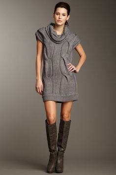 Wow Couture -- Chunky Cable Knit Sweater Dress