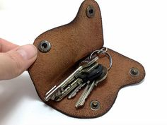 Handmade brown genuine leather Key Holder / case/ by TIZART, $15.00