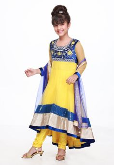#Yellow and #Blue #AnarkaliKameez @ $134.80