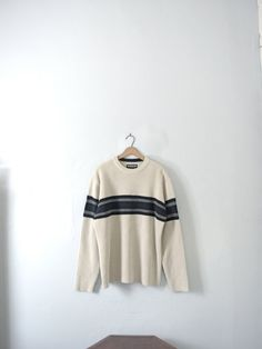 Vintage 90's striped men's sweater cream white size by manorborn