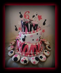 music and zebra birthday cake with cupcakes
