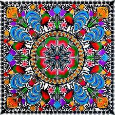 Duża wycinanka ludowa z kolorowym wzorem kwiatowym - folklor łowicki - Folkstar.pl