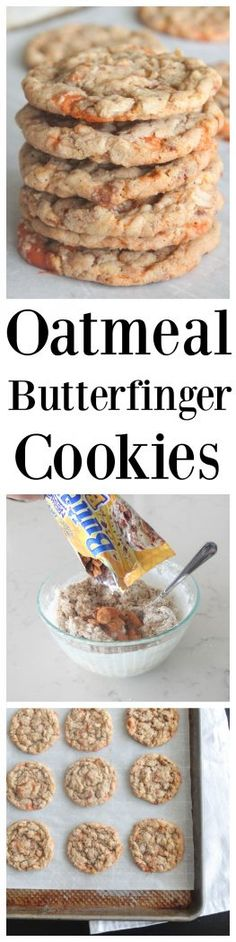 Sharing my Oatmeal Butterfinger Chip Cookies that make the perfect sweet treat for any occasion packed with oatmeal and sweet Butterfinger! Cookie Desserts, Easy Desserts, Delicious Desserts, Dessert Recipes, Butterfinger Cookies, Thanksgiving Deserts, Amazing Cookie Recipes, Peanut Butter Recipes, How Sweet Eats