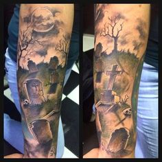 If you are in search of a mystical subject for your next tattoo then here you will find some of the most impressive graveyard and cemetery tattoo designs to choose from. This weird subject enjoys immense popularity. Tombstone Tattoo, Graveyard Tattoo, Haunted Graveyard, Trendy Tattoos, Small Tattoos, Cool Tattoos, Leg Tattoos, Sleeve Tattoos, Tombstone Designs