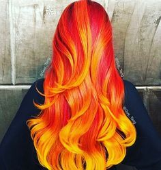 WEBSTA @ hairgoals31 -  Fire hair  #yellowhair #orangehair #redhair #fire #firehair #longhair #curlyhair #curlystyle #ombré #hairgoals #2016hairtrends #hairtrends #yolo #wow #amazinghair