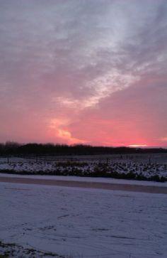 Zonsondergang winter 2013 Gorredijk/Terwispel