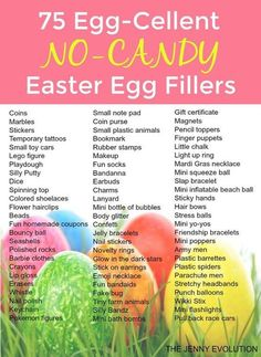 75 Egg-Cellent Non Candy Easter Egg Fillers - Perfect For Filling Easter Baskets With No Food The Jenny Evolution Easter 2018, Easter Party, Easter Table, Easter Dinner, Hoppy Easter, Easter Bunny, Baby Easter Basket, Big Easter Eggs, Sugar Eggs For Easter