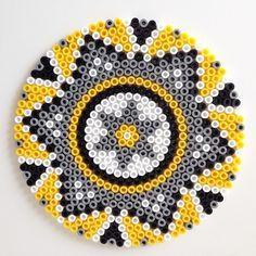 Mandala hama perler beads by brineh by Christy Lynn McCaghren-Carter Hama Beads Coasters, Diy Perler Beads, Perler Bead Art, Pearler Beads, Hama Coaster, Perler Bead Designs, Hama Beads Design, Pearler Bead Patterns, Perler Patterns