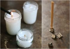 to Make Wood Wicks for Candles Make your own wood wicks instead of purchasing them. I'm going to consolidate all my candles and do this!Make your own wood wicks instead of purchasing them. I'm going to consolidate all my candles and do this! Diy Candle Wick, Wood Wick Candles, Candle Molds, Beeswax Candles, Diy Candles, Candle Wax, Candle Wicks, Making Candles, Floating Candles