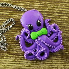 BIg Friendly Octopus Necklace by rapscalliondesign on Etsy, $32.86