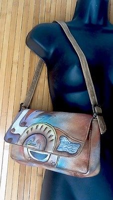 "Anuschka Vtg ""Sweet Duckies"" Convertible Shoulder Clutch Signed Leather Bag L K   eBay"