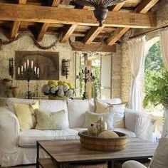 40 Interesting Shabby Chic Living Room Designs Ideas - April 20 2019 at French Country Living Room, Shabby Chic Living Room, Shabby Chic Homes, Shabby Chic Furniture, Italian Living Room, Country Kitchen, Rustic Italian Decor, Italian Home Decor, Rustic Style