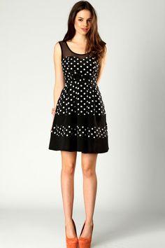 Kathy Bow Waist Polka Mesh Top Dress at boohoo.com $24