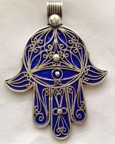 SILVER & Blue Enamel Moroccan Berber Hamsa Evil Eye Amulet Talisman PENDANT 2