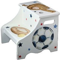 Sports step stool - all star theme- personalized gift for baseball- football soccer, basketball fan - unique baby boy - nursery decor Unique Gifts For Kids, Unique Baby, Kids Gifts, Baby Boy Nursery Decor, Baby Boy Nurseries, Monkey Nursery, Baby Rooms, Kids Rooms, Nursery Ideas