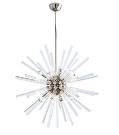 HANLEY LARGE CHANDELIER (FLUTED CRYSTAL / POLISHED NICKEL ), In Stock, Arteriors