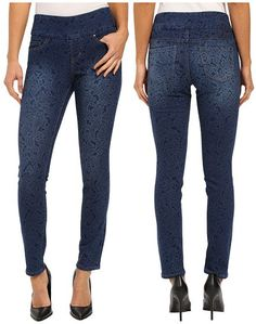 Jag Jeans Lanna Pull-On Slim Patterned Denim in Paisley Indigo Indigo, Paisley, Slim, Jeans, Fashion, Moda, Indigo Dye, Fashion Styles, Fashion Illustrations