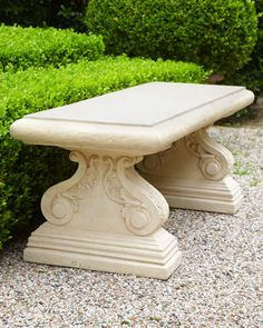 """$645 59""""W x 19""""D x 20""""T. Haven Bench at Horchow."""