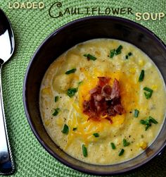 Loaded Cauliflower Soup is a great alternative to high calorie, loaded potato soup.