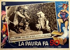 "Lobby card for Giorgio Simonelli's fantasy comedy ""La paura fa 90"" (Italian title: ""Fear is 90"", 1951), starring Silvana Pampanini, Franca Marzi and Ugo Tognazzi."