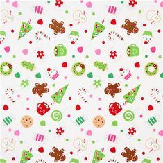 white Riley Blake Christmas fabric cute Xmas