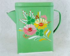 Vintage Ransburg Green Tole Painted Flower Tin, Mid Century Soap Detergent Dispenser Tin Canister