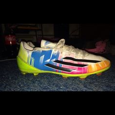 Messi Soccer Cleats These shoes are a men's seven, but they fit a women's shoe size of 7.5. I only every got the chance to use these cleats about three before I received my 5th concussion. These shoes are gently used, but the shoe laces and tongues are slightly off colored due to the dirt on the fields. Please comment if you have any questions! Adidas Shoes Athletic Shoes
