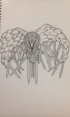 My attempt at drawing the three eyed crow from Game of Thrones. Da da da da da da