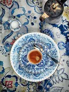 Turkish plate, cup, creamer, tea pot and a beautiful tablecloth http://www.magnificentturkey.com/ #turkish #coffee #turkey