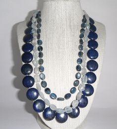 Lapis, Aquamarine and Kyanite Necklace Blue Green Marine Aqua Triple Stunning Gift fashion under 70. $65.00, via Etsy.