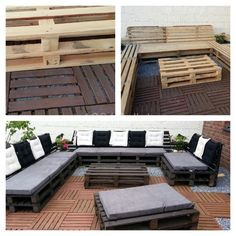 we are sure that your will find these 15 DIY outdoor pallet sofa ideas affordable and highly luxurious. Pallet wood has been reclaimed for the required furniture Pallet Patio Furniture, Diy Pallet Sofa, Fire Pit Furniture, Outdoor Furniture Plans, Diy Pallet Projects, Pallet Ideas, Furniture Ideas, Antique Furniture, Pallet Storage