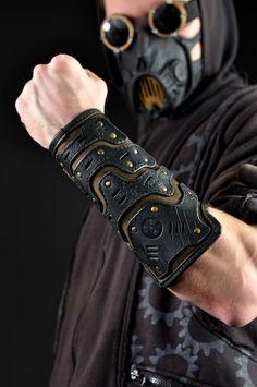 Moda Steampunk, Steampunk Clothing, Steampunk Fashion, Steampunk Gloves, Post Apocalyptic Costume, Apocalyptic Fashion, Leather Bracers, Leather Men, Leather Jackets