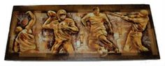 This #Sports themed stretched canvas wall art features #baseball, #basketball, #football and #soccer players.