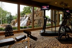 Exercise room with a view