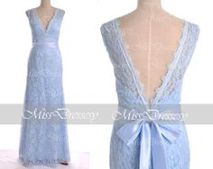 Ice Blue Lace Evening Dresses Lace Gown Mermaid by MissDressesy, $169.00