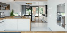 Find home projects from professionals for ideas & inspiration. Projekt domu HomeKONCEPT 33 by HomeKONCEPT Home Decor Kitchen, Kitchen Interior, Home Kitchens, Modern Kitchen Cabinets, Kitchen Cabinet Design, Kitchen Diner Extension, Luxury Kitchen Design, Living Room Pictures, Minimalist Living