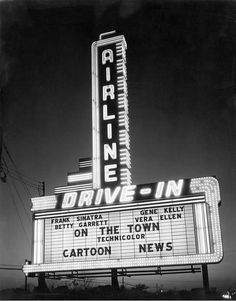 """vintagenola: New Orleans Drive In Theater Marquee on Airline Highway. The Movie showing at the drive in theater """"On The Town"""" premiered in Vintage Signs, Vintage Photos, Cartoon News, New Orleans History, Drive In Movie Theater, Starlite Drive In Theatre, Outdoor Theater, Outdoor Cinema, Nostalgic Images"""