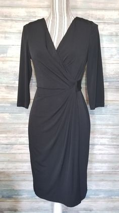 8d8f4345bb98 White House Black Market dress 3 4 sleeve knee length evening stretch faux  wrap  . eBay