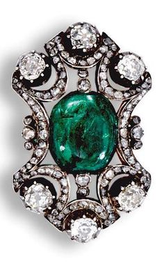 An antique emerald and diamond brooch/pendant, late 19th century. Of openwork design, centring on a cabochon emerald within scalloped surrounds set with rose-cut diamonds, accented with circular-cut and cushion-shaped stones in pinched collet settings, detachable brooch fittings. #antique #brooch